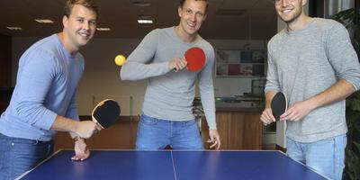 Gijs Kingma, Casper Lemmen en Rémon Wobbema in het kantoor dat ze in september betrekken. FOTO NIELS WESTRA