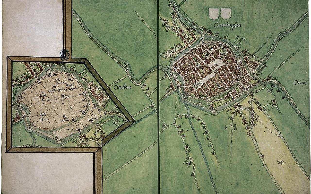 De kaart van de stad Groningen.