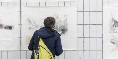 Een gedeelte van het werk dat prijswinnaar Egbert Jan Brink in Kolderveen liet zien. Foto Sijtze Veldema