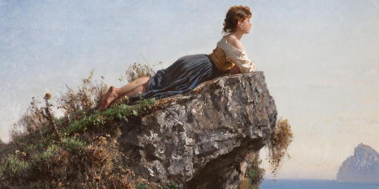 Fanciulla sulla roccia a Sorrento, van Filippo Pallizi uit 1871.