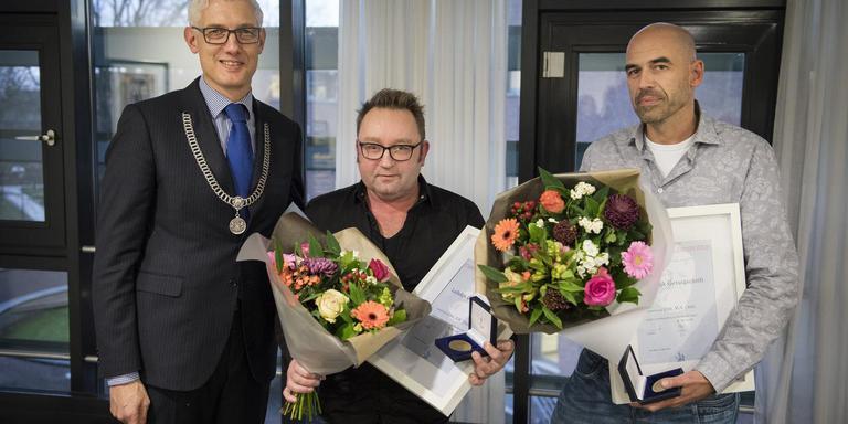 Burgemeester Marco Out, Marcel Tillema en Martin Oost. Foto Jaspar Moulijn