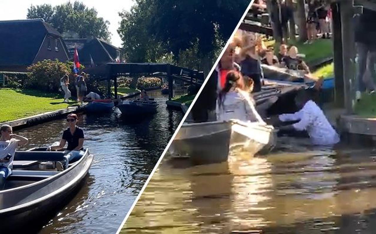 Zondag belandde een man in het water bij een vechtpartij (rechts), de dag erna is daar niets meer van te merken in Giethoorn, serene rust in de Dorpsgracht.