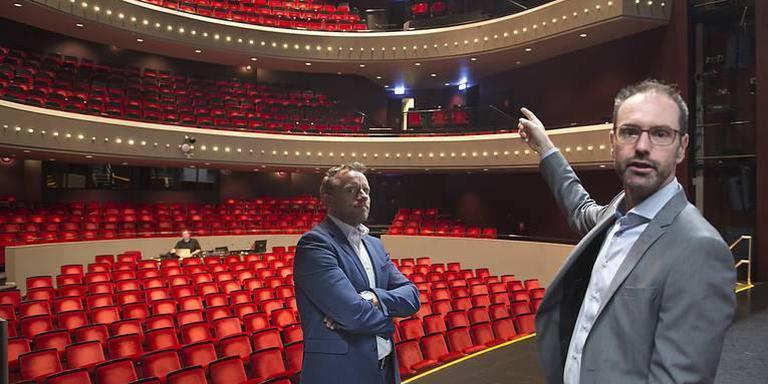Tijdens een eerdere rondleiding door theater De Tamboer wijzen directeur Pieter-Bas Rebers (rechts) en wethouder Erik Giethoorn op het achterstallig onderhoud.