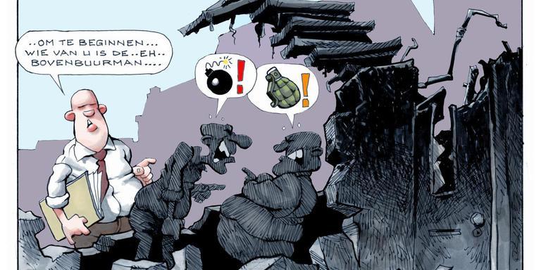 Buurtbemiddeling wil optreden voordat de burenruzie volledig uit de hand loopt, zoals hier op de cartoon van Pluis.