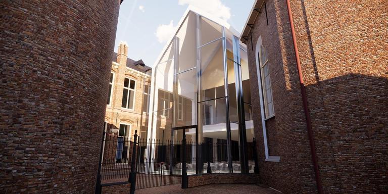Impressie van de toekomstige publieksruimte van het Drents Museum. Illustratie Sax Architecten