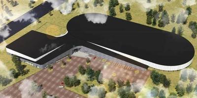 Een artist's impression van de ijsbaan met zwembad die Hoogeveen wilde bouwen.