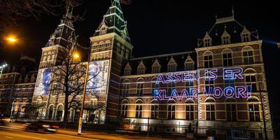 De projectie op het Rijksmuseum.