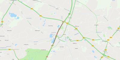 Een ongeval veroorzaakt een file bij Beilen. FOTO GOOGLE MAPS