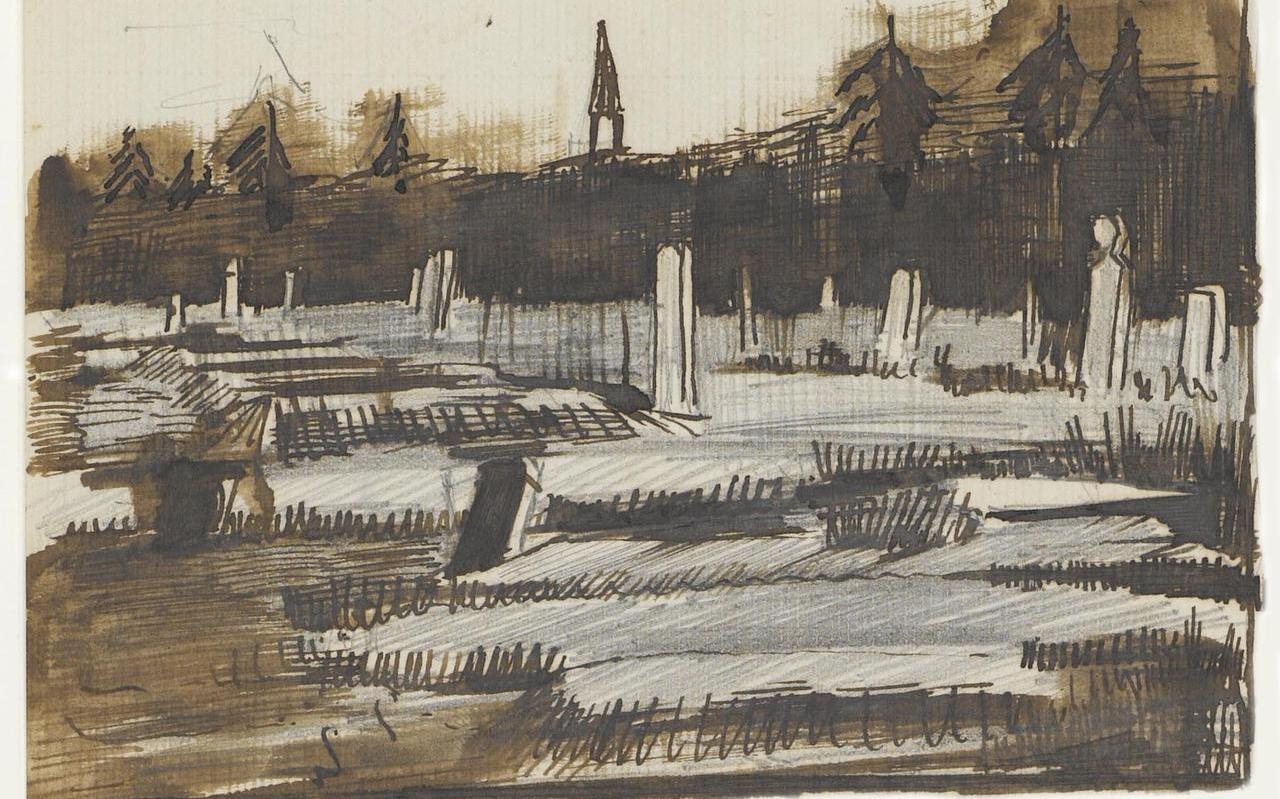 Afbeelding van de brochure Van Gogh, Erfgoedlocaties in Drenthe. Een schets van het kerkhof in Pesse, kerktoren op de achtergrond, 3 okt. 1883.