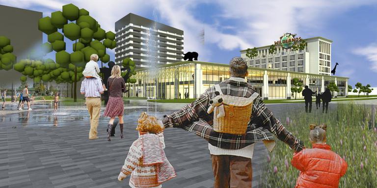 Van deze artist impression van de zuidkant van het Raadhuisplein wordt Peter van Dijk iedere dag weer heel vrolijk, bekende hij op een bijeenkomst voor centrumbewoners. Over twee maanden begint de bouw.