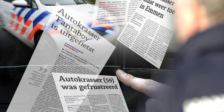 In Emmen werd vier gaar geleden een man na het bekrassen van honderden auto's op heterdaad betrapt.