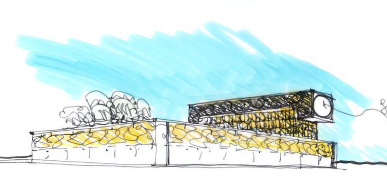 Op basis van dit soort tekeningen maakte de Amsterdamse architect uiteindelijk het definitieve ontwerp voor de nieuwe blikvanger die verrijst in het Emmer centrum. illustratie Liesbeth van der Pol