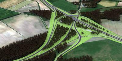 De toekomstige fly-overs van de N34 en de aansluiting op de Rondweg, bij Erm. Infografiek Provincie Drenthe