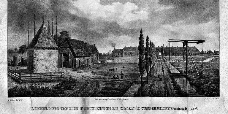 Een getekende prent van het eerste of kindergesticht van Veenhuizen. Een van de weinige prenten die van het gesticht uit die tijd bestaat.