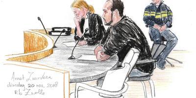 De van moord verdachte Coevordenaar en zijn advocate J. Kwakman vor de Zwolse rechtbank. Illustratie Annet Zuurveen