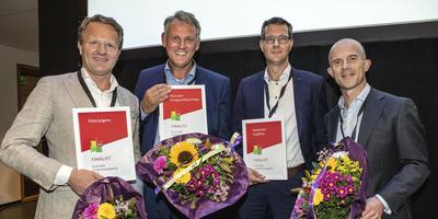 De finalisten, vlnr. Marko Kamminga (FritsJurgens), Eddy Roossien (Roossien Hoogwerktechniek), Harm Koopman en Maurice de Wilde (Koopman Logistics).