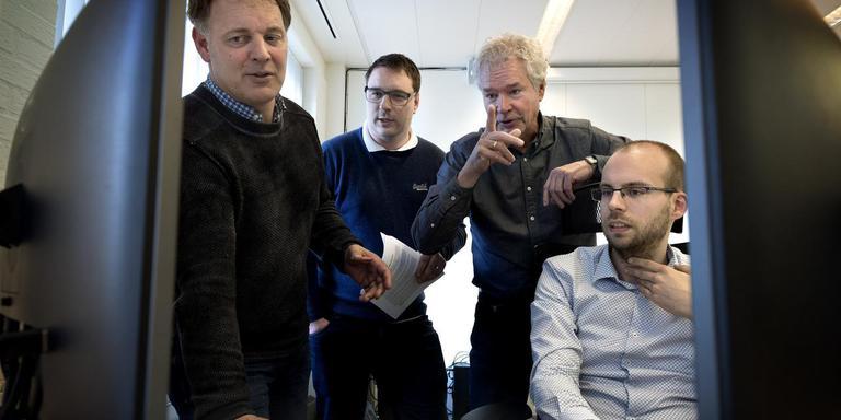 De ondernemers van Tria Informatica: v.l.n.r.: Arnoud Berghuis, Gabe van der Weijde, Herman Balsters en Stefan de Ruiter. Foto: Peter Wassing.