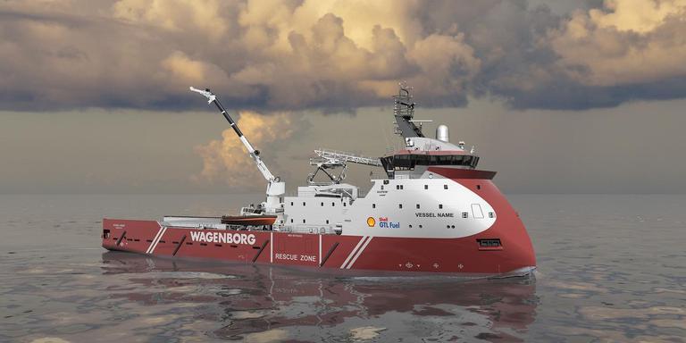 Een illustratie van het nieuwe werkschip.