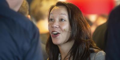 Marion Tjin-Tham-Sjin, zakenvrouw van de wereld, in Emmen. Foto: Jan Anninga