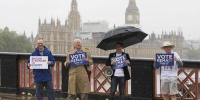 Voorstanders van de EU protesteren in Londen in de regen. FOTO AFP