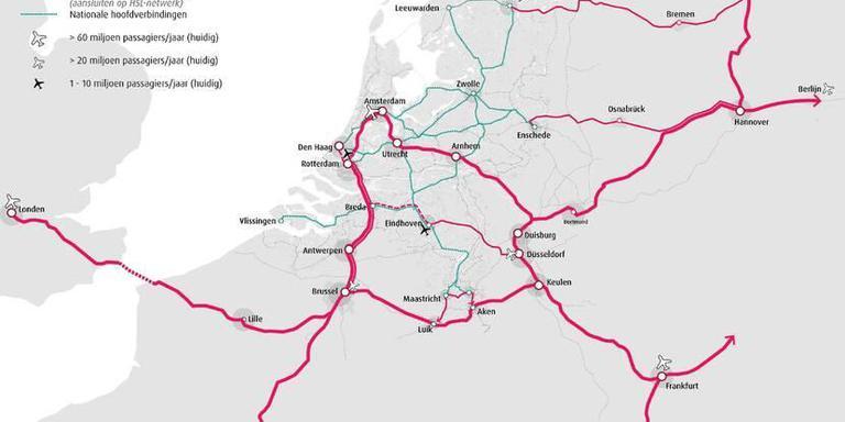 Een met internationale verbindingen (de rode lijnen), inclusief de Wunderline tussen Groningen en Bremen. Volgens velen ontbreekt een rode schakel tussen de Randstad en Groningen. Kaart: Contouren Toekomstbeeld OV 2040