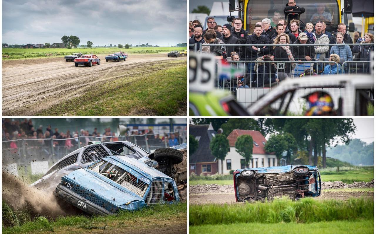 Rondvliegende stukken modder, ronkende motoren en hier en daar een crash tijdens de autocross met Hemelvaart.