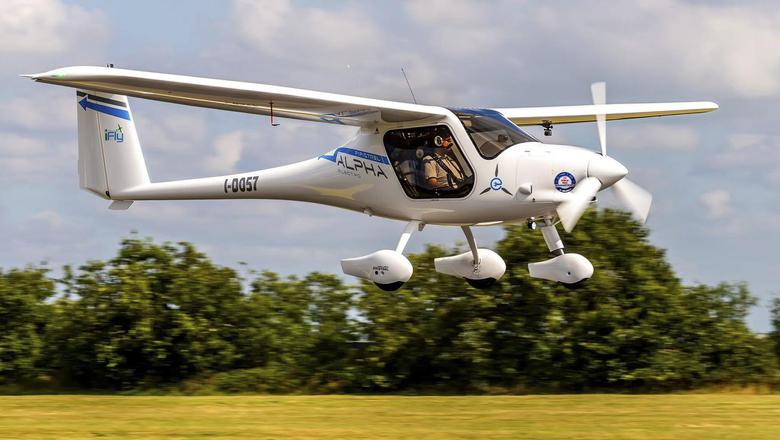 De Pipistrel Alpha Electro, het enige elektrisch aangedreven vliegtuig in Nederland.