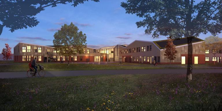De Tirrel, gezien vanaf de Meeden. Illustratie: Team4 Architecten Groningen