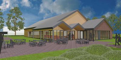 Artist impression van het nieuw te bouwen dorpshuis Ruitenvelder in Froombosch