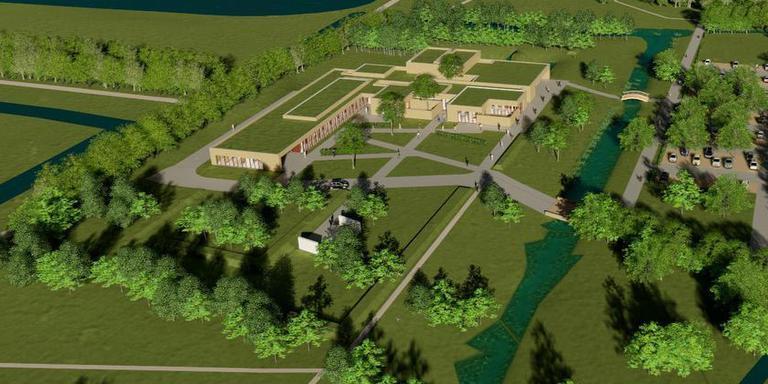 Voorlopig ontwerp van het crematorium Hoendiep. Illustratie: Archief DvhN