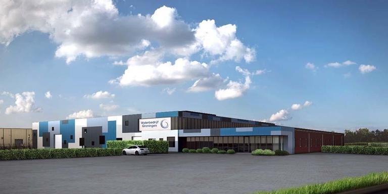 Het nieuw geopende pand van Waterbedrijf Groningen aan de Fultonweg in Hoogezand. Eigen afbeelding