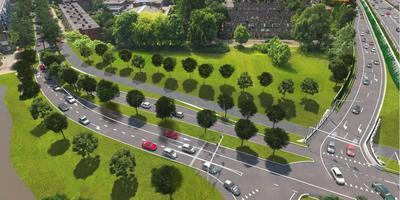 De Vondellaan in Groningen (links) krijgt straks een nieuwe aansluiting op het Julianaplein en een doorgaande route naar de binnenstad. Rechtsboven: de afrit van de A28 vanuit Assen naar de binnenstad. Illustratie: Aanpak Ring Zuid