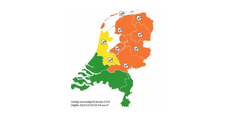 De huidige weercodes in Nederland. Foto: KNMI