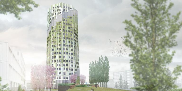 Zo moet de nieuwe flat er uit gaan zien. Illustratie: Woningcorporatie Nijestee/De Unie Architecten