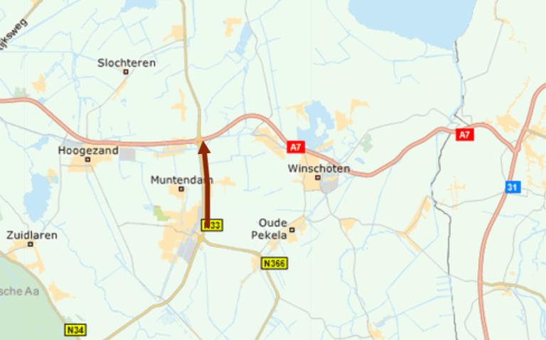 Forse vertraging op N33 tussen Veendam en Zuidbroek na ongeluk met vrachtwagen.
