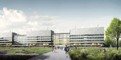 Artist's impression van de Feringa Building, het nieuw te bouwen faculteitsgebouw van wiskunde en natuurwetenschappen op de Zernike Campus.