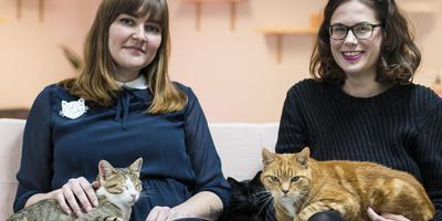 Karin Kwant en Laura de Vries met twee katten. Foto: DvhN/Liselotte Schüren