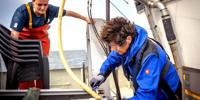 Het spannendste moment: Kamermans snijdt een oester open. Reuchlin kijkt toe. FOTO JILMER POSTMA
