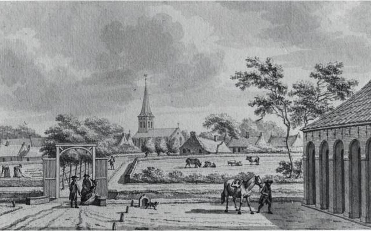 Gezicht op Ulrum vanaf het borgterrein, tekening van J. Bulthuis (1750-1801).