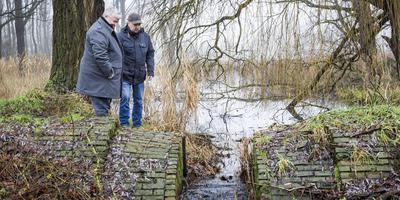 Archeoloog Ko Lenting (rechts) en IVN-bestuurder Gerrit Smit bij dan dan nog dichtgeslibde Oudeschanskerkolk.
