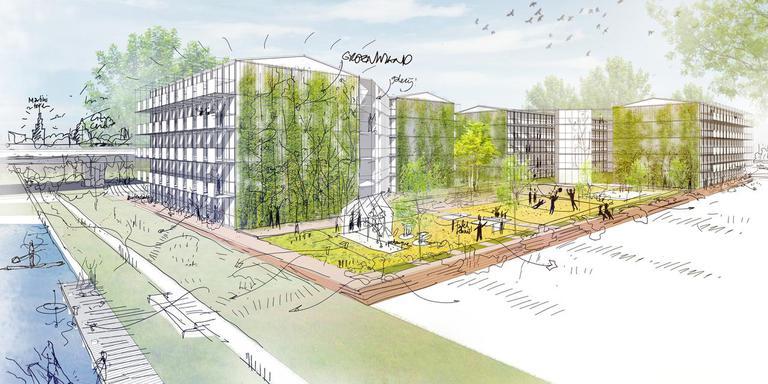 Een tekening van de woonunites voor internationale studenten op het Suikerterrein in Groningen. Het gebouw moet in oktober klaar zijn. Er wordt in allerijl meer woonruimte gezocht. Illustratie: gemeente Groningen