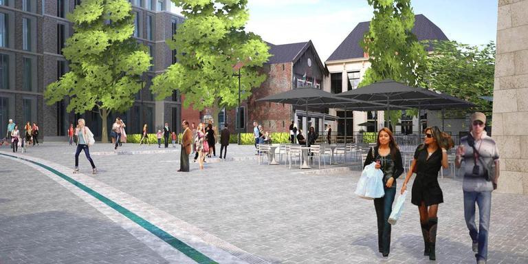 Impressie van de Nieuwe Markt. Achter de bomen het terras van 't Feithhuis, op de voorgrond een waterstroompje.