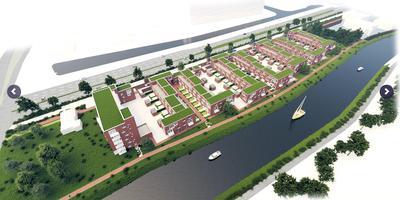 Het bouwplan voor Het Ommeland aan het Reitdiep. Illustratie: hetommeland.nl