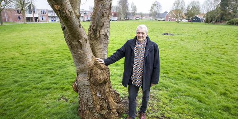 Frits Korvemaker op een veldje in Blijham waar een bomenpark zou kunnen komen. Foto HUISMAN MEDIA