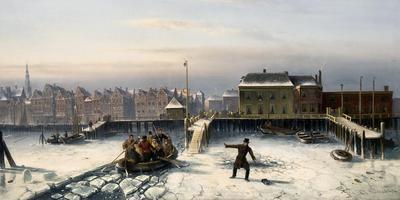 Op het schilderij Charles Leickert Op het IJ, zakt een jonge Willem Albert Scholten door het ijs. Illustratie: Simonis & Buunk