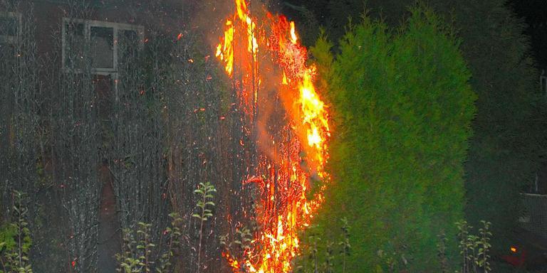 Aan de Dagwerkstraat ging een hele rij in vlammen op. Foto: Richard Degenhart
