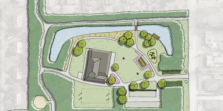 Een schets van het parkje in de wijk Coendersborg na de drie ton kostende renovatie