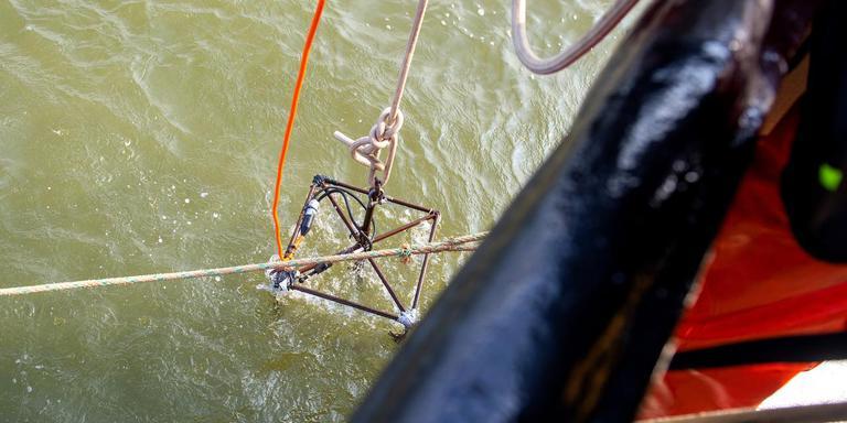 Bemanningsleden van de Zoutkamp 47 laten de camera de Noordzee in zakken. FOTO JILMER POSTMA