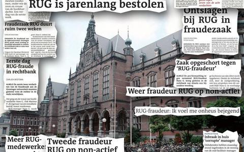 De fraudezaak op de RUG leidde tot veel berichten in de media.  Fotomontage ulce witte