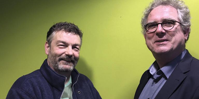 Derwin Schorren en Egbert Dommerholt van de Hanzehogeschool. Foto DVHN